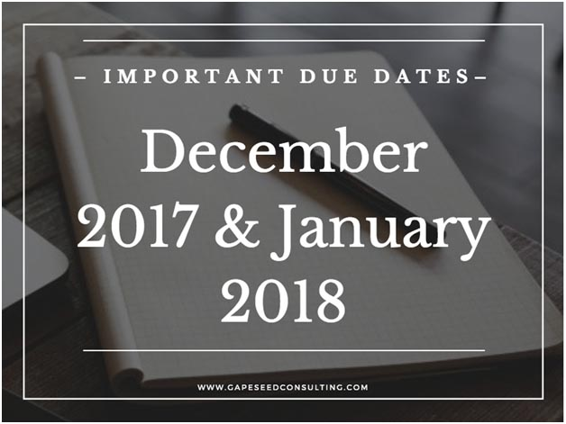 Alert-2 Important Due Dates December 2017 and January 2018